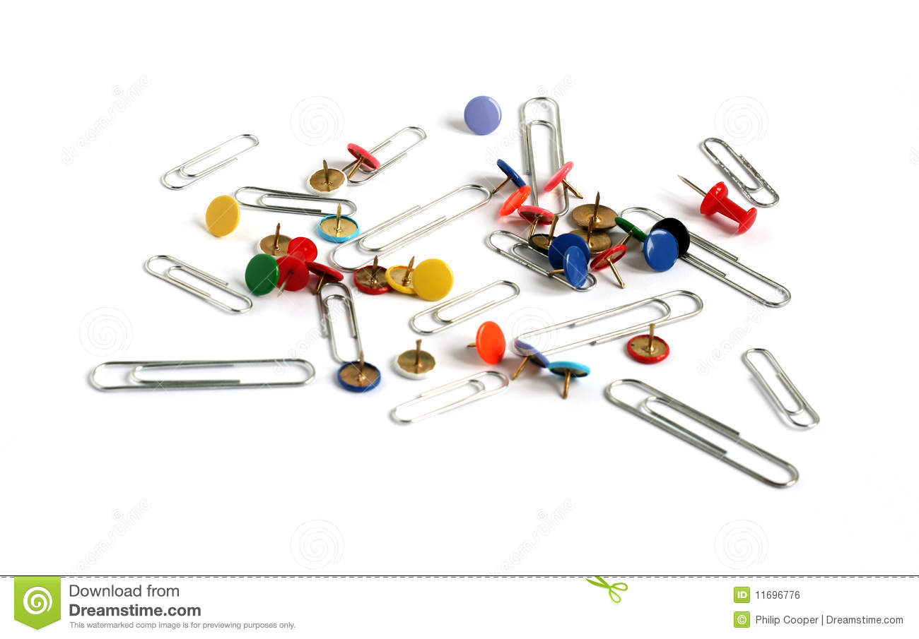 paper clips and drawing pins many colors royalty free