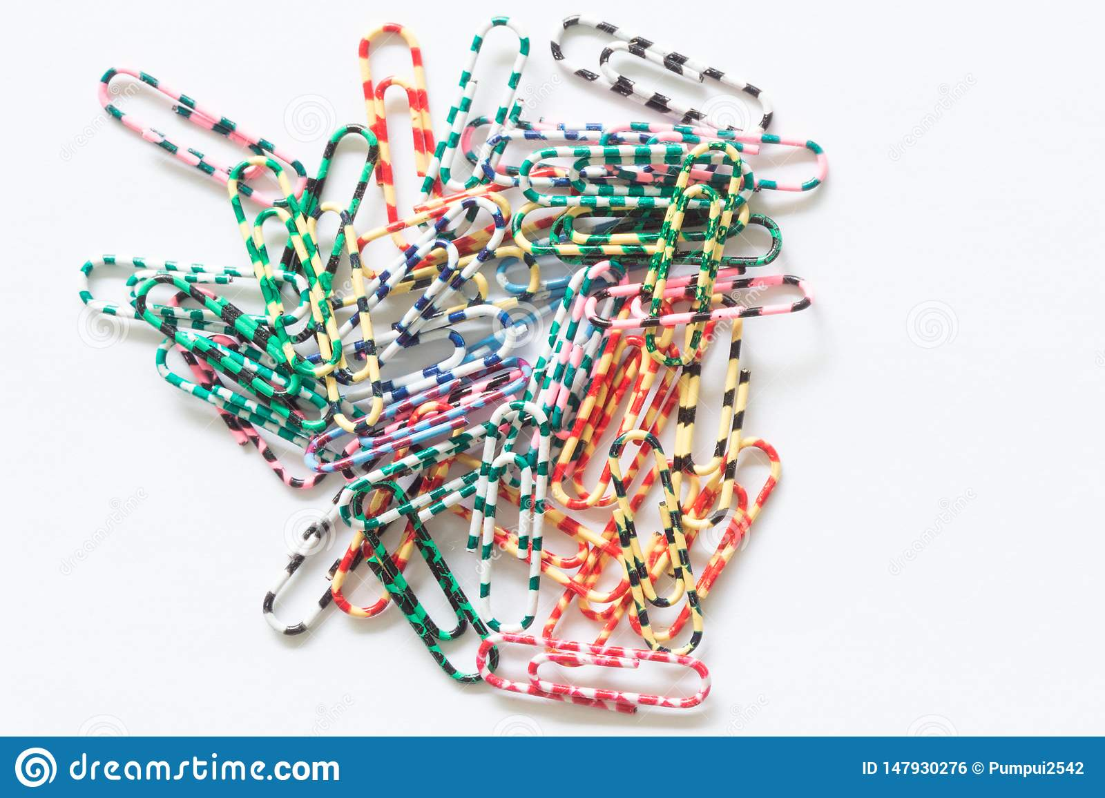 Paper clips isolated on white background