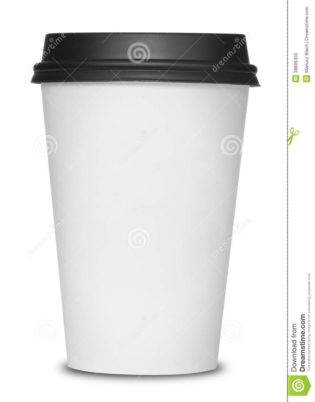 Paper coffee cup with black lid isolated on white background.
