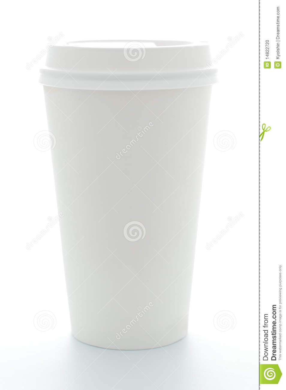Top Plastic Cup : Paper coffee cup with plastic top stock photo image