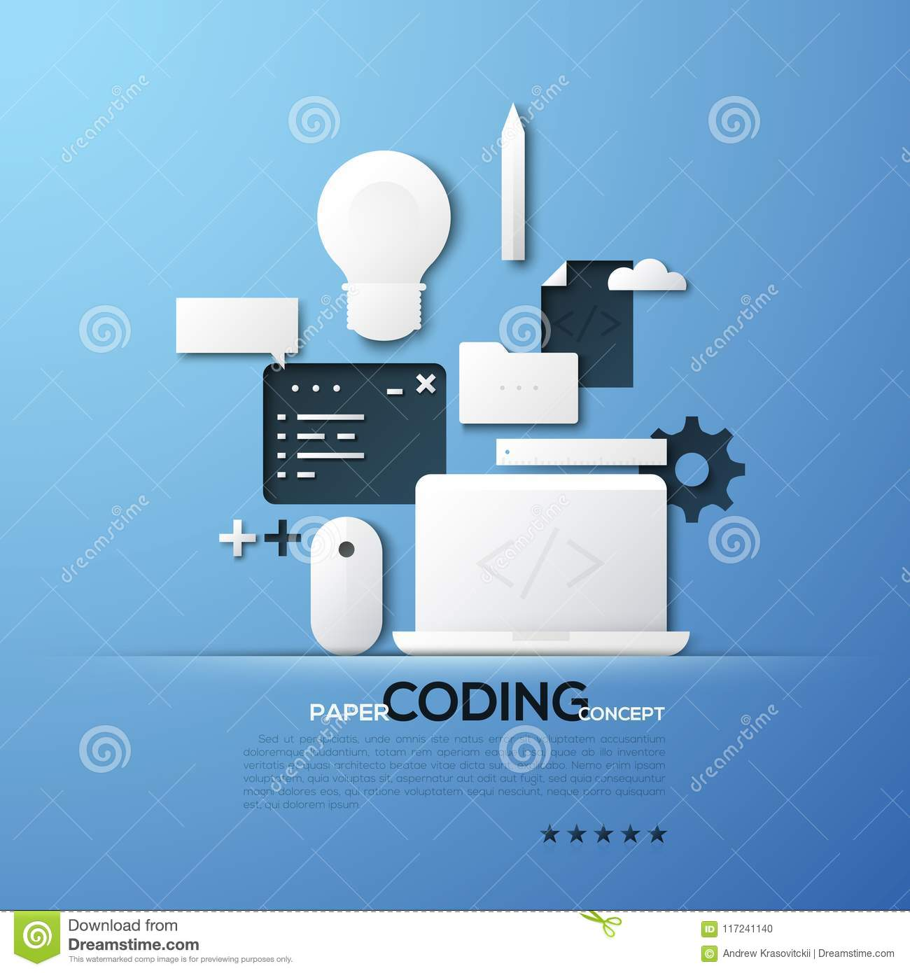 Paper concept of coding, front and back end software development, program code testing. White silhouettes of laptop