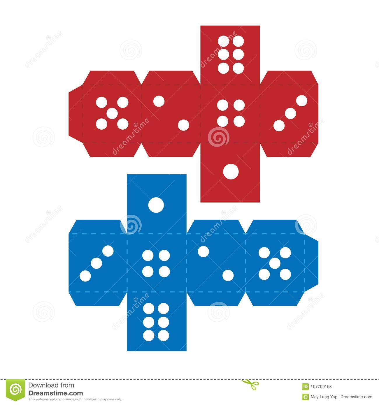 Paper Craft Dice Template Stock Illustration. Illustration Of Children