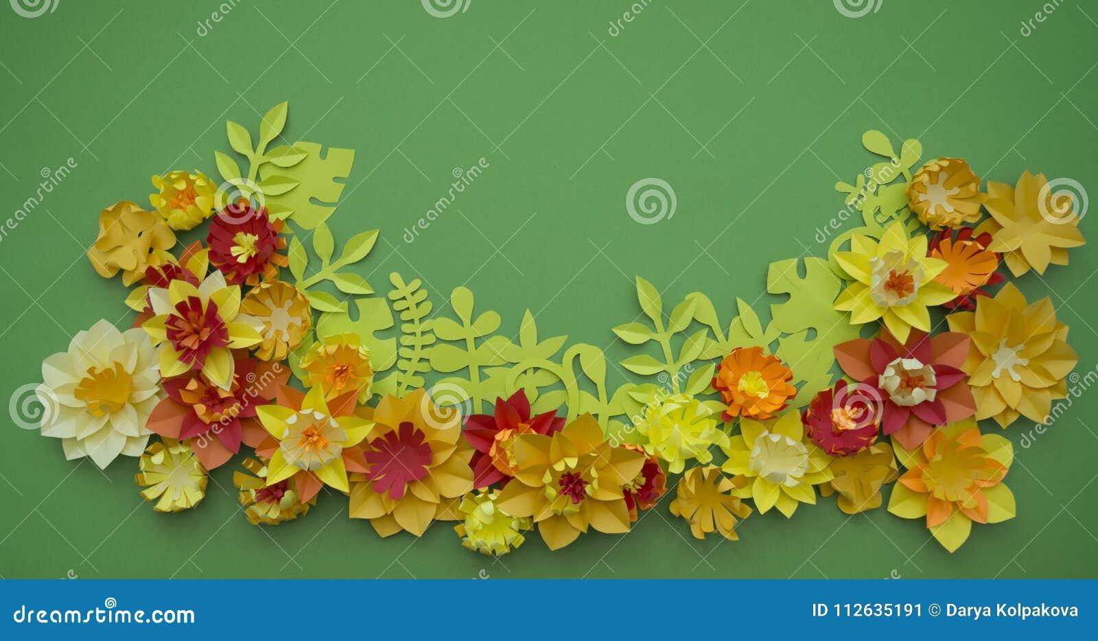 Paper Craft Flower Decoration Concept Border Green Background Stock