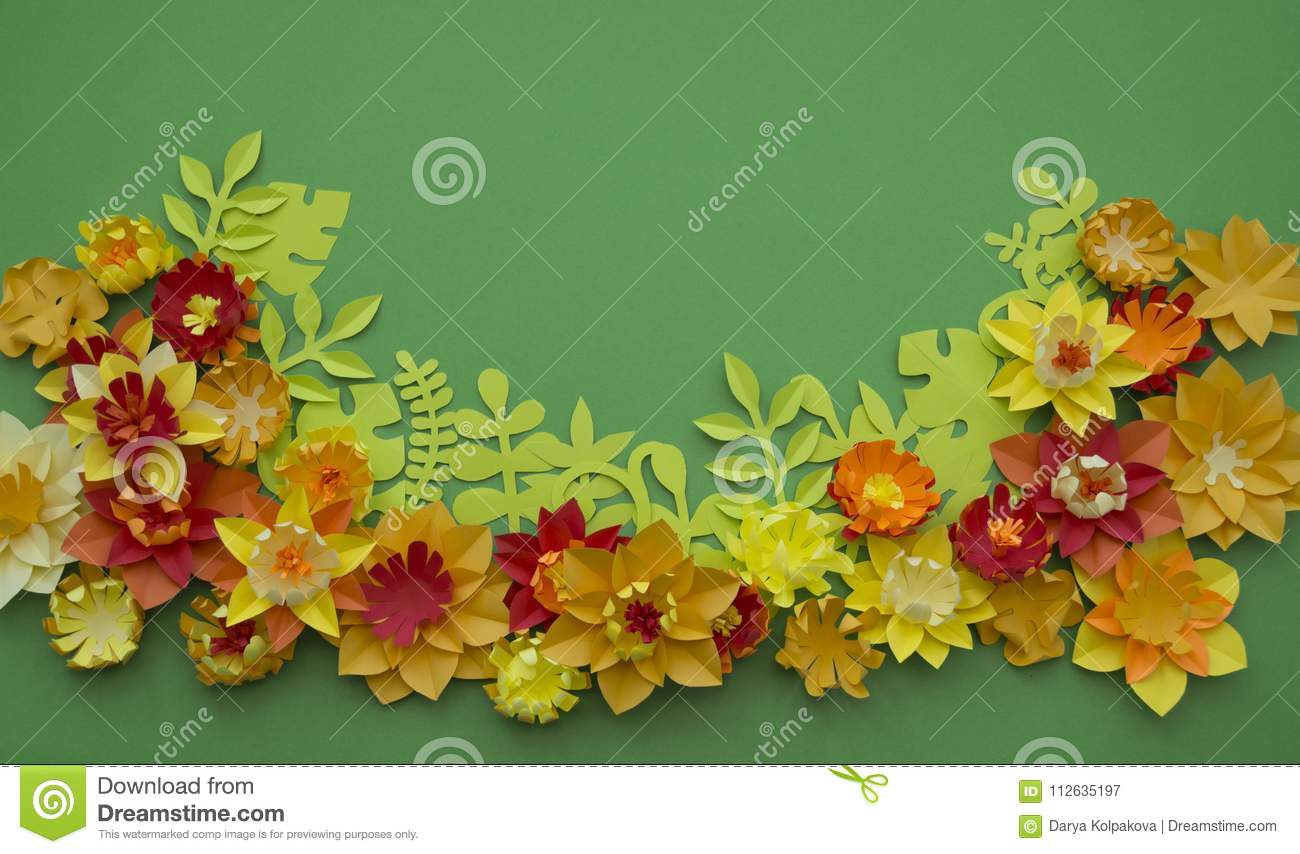 Paper Craft Flower Decoration Concept Border Green Background Stock