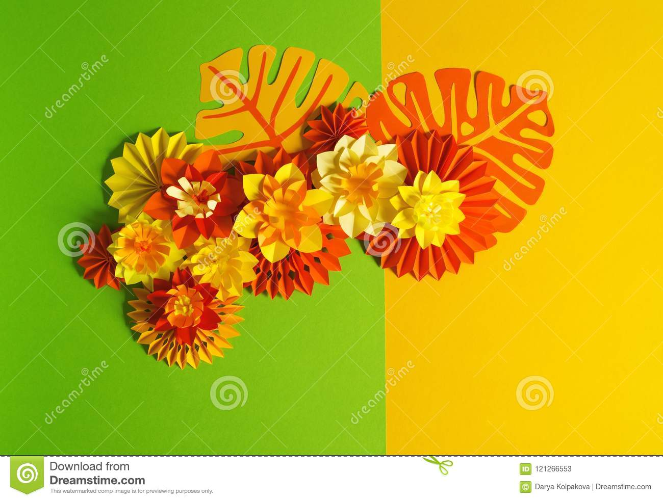 Paper Craft Flower Decoration Concept. Flowers And Leaves Made Of ...
