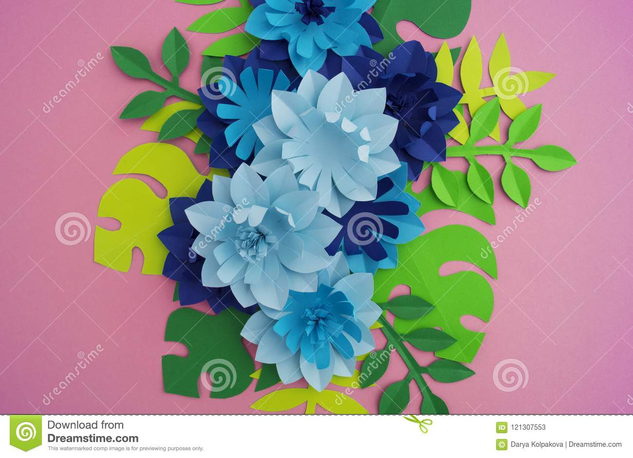 Paper Craft Flower Decoration Concept Flowers And Leaves Made Of