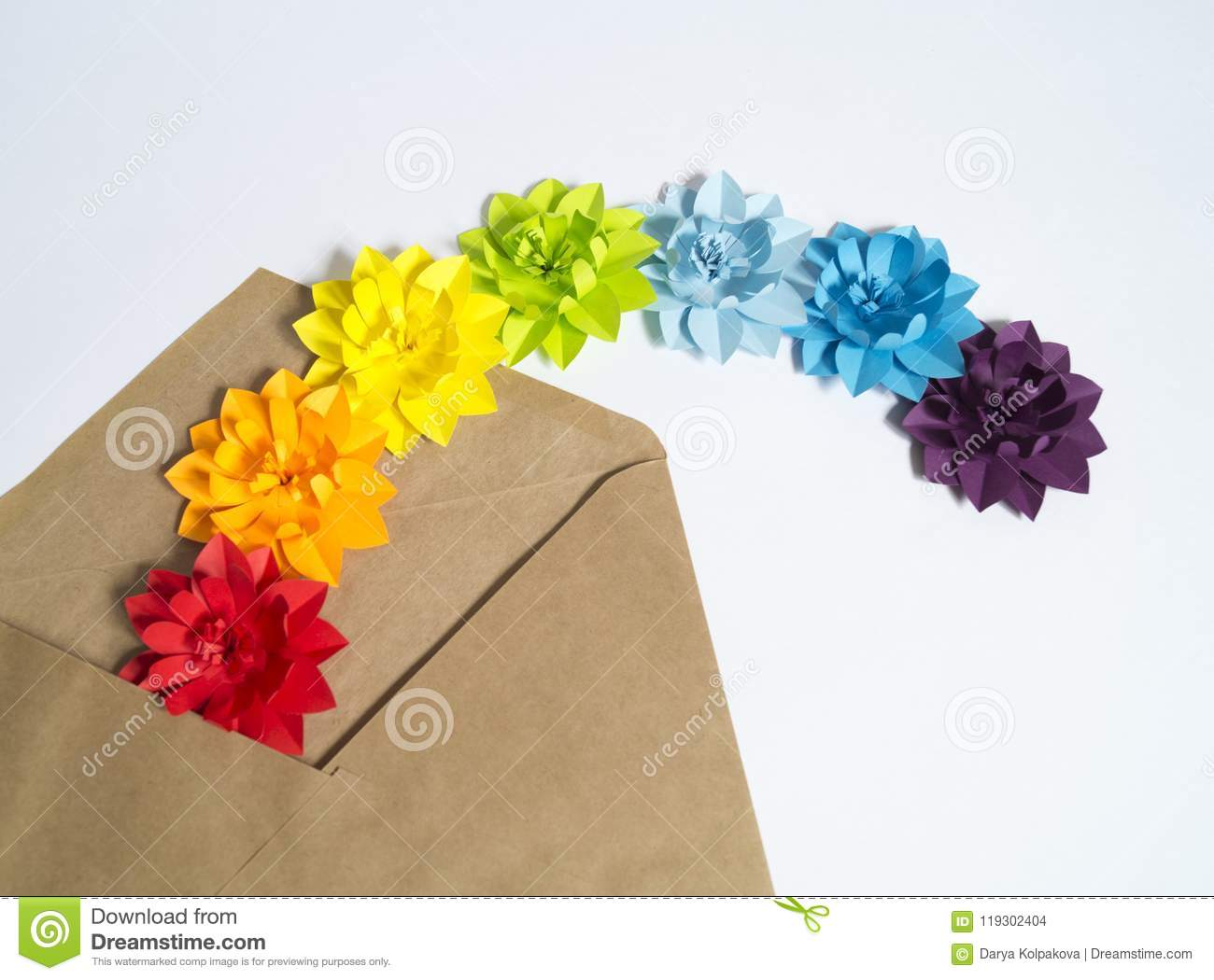 Paper Craft Flower Rainbow Decoration Concept Flat Lay Stock Photo