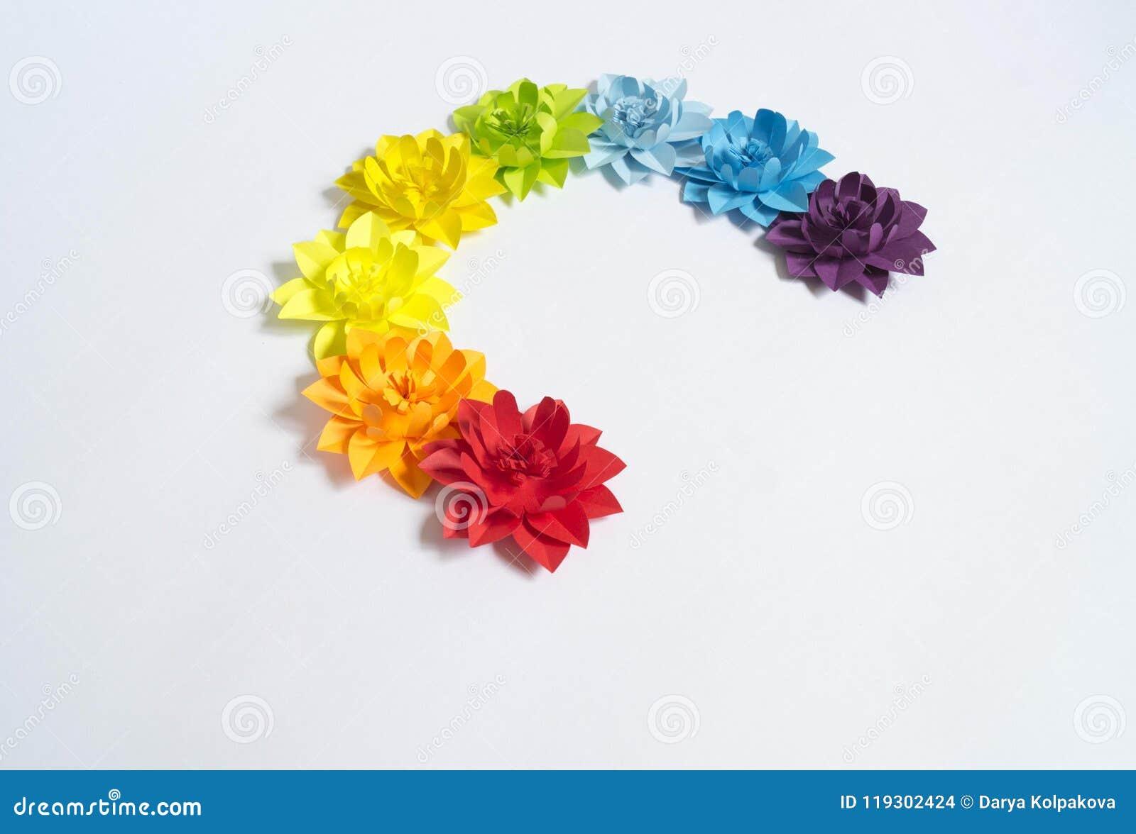Paper Craft Flower Rainbow Decoration Concept Flat Lay Stock Photo