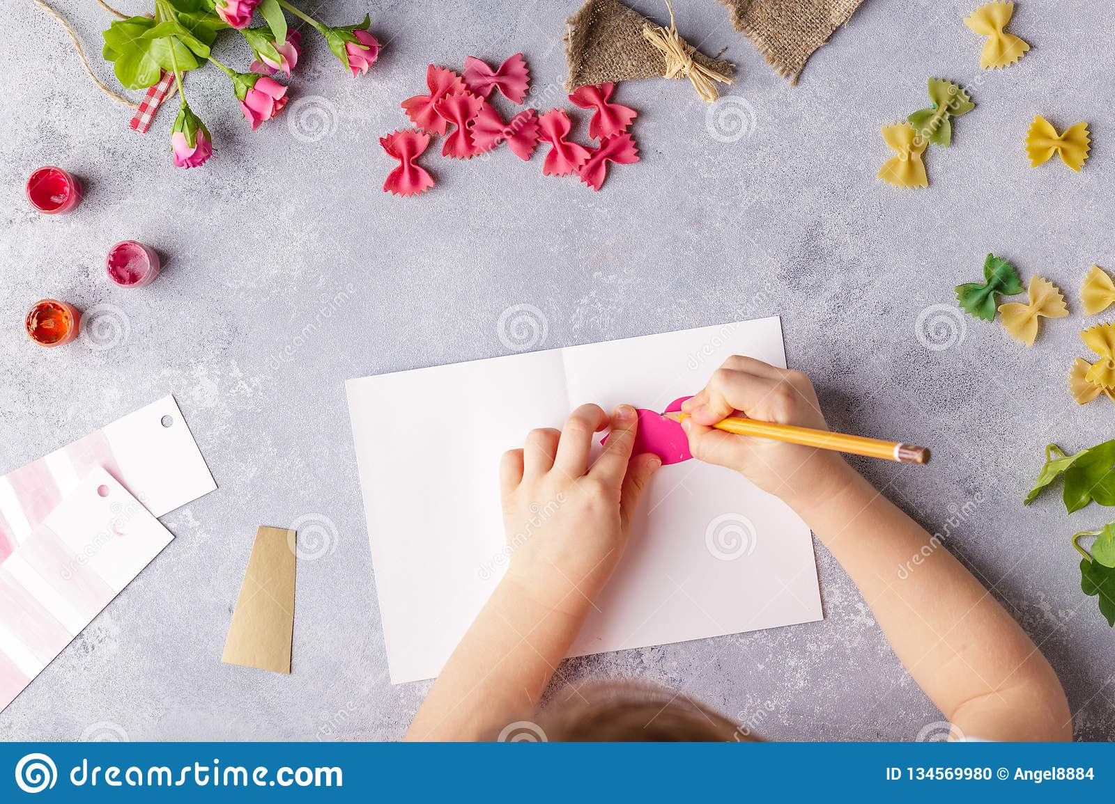 Paper Crafts For Mother Day 8 March Or Birthday Small Child Doing A Bouquet Of Flowers Out Colored And Pasta
