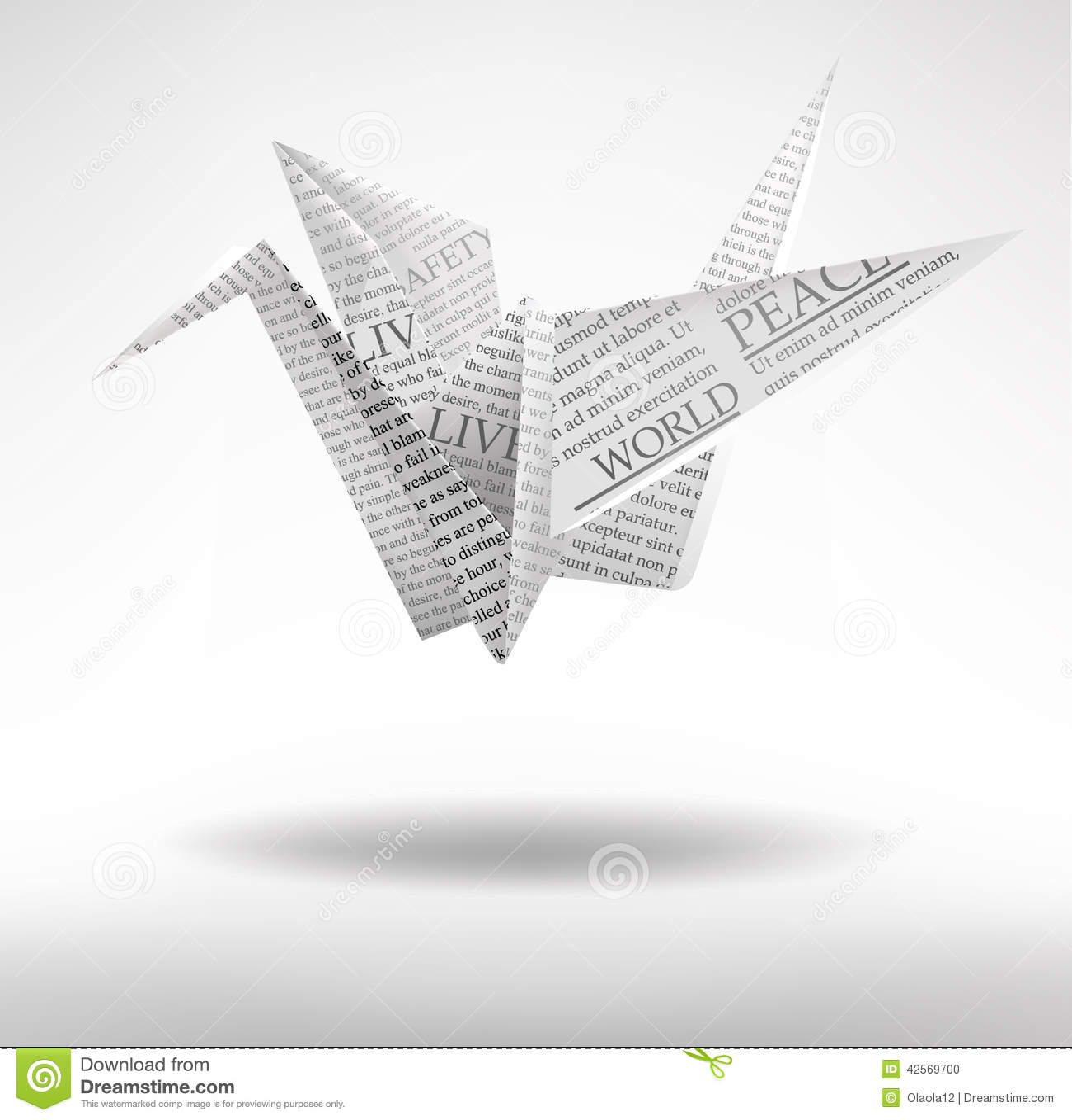 Paper Crane Stock Vector Illustration Of Japan Creative 42569700 Pics Photos Origami Swan Diagrams
