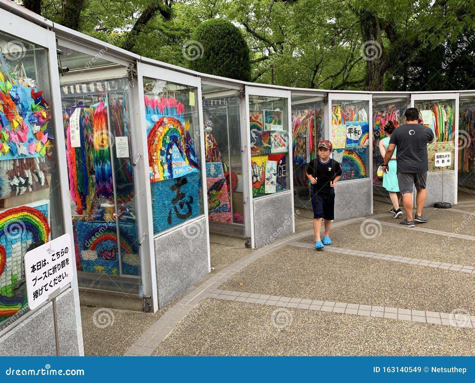 Paper Cranes Booth At Sadako Sasaki Statue In Hiroshima