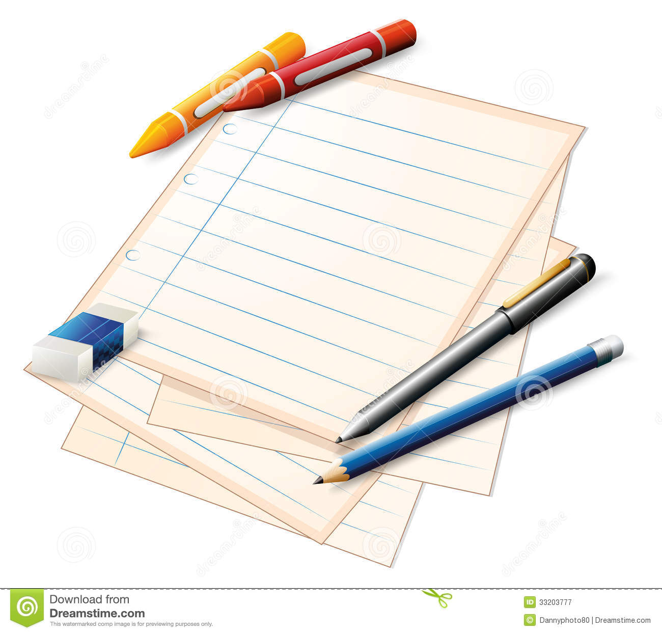 A Paper With Crayons And Pencils Royalty Free Stock ...