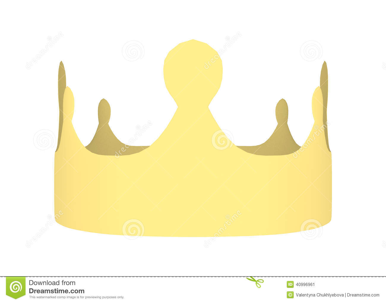 3D digital render of a yellow paper crown isolated on white background ...