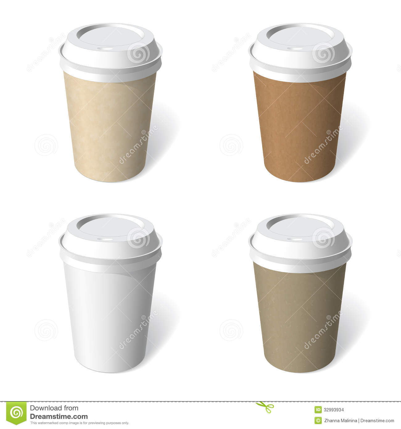 Paper Cup Blank Template Set Stock Images Image 32993934