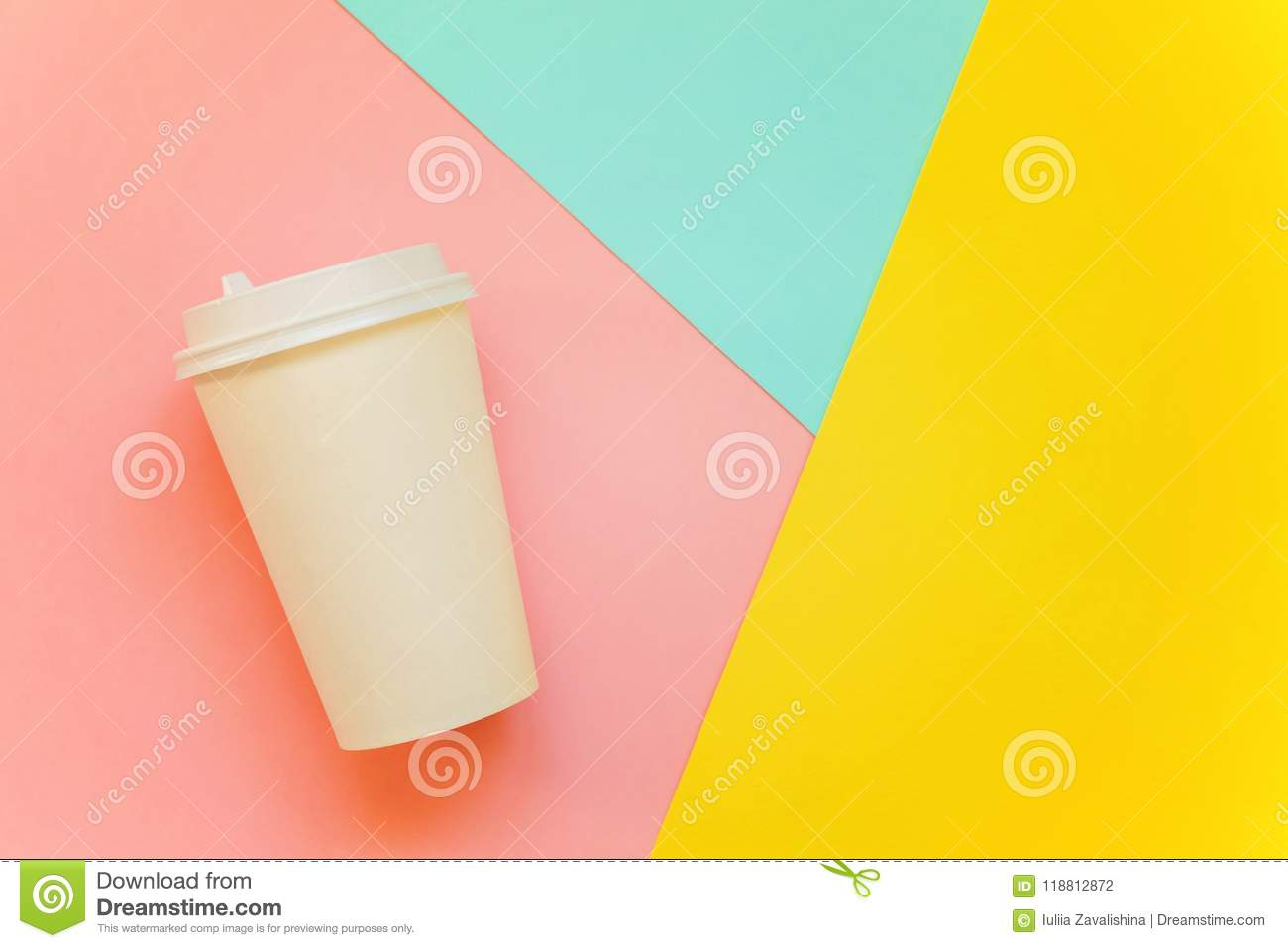 Paper cup of coffee on colorful background