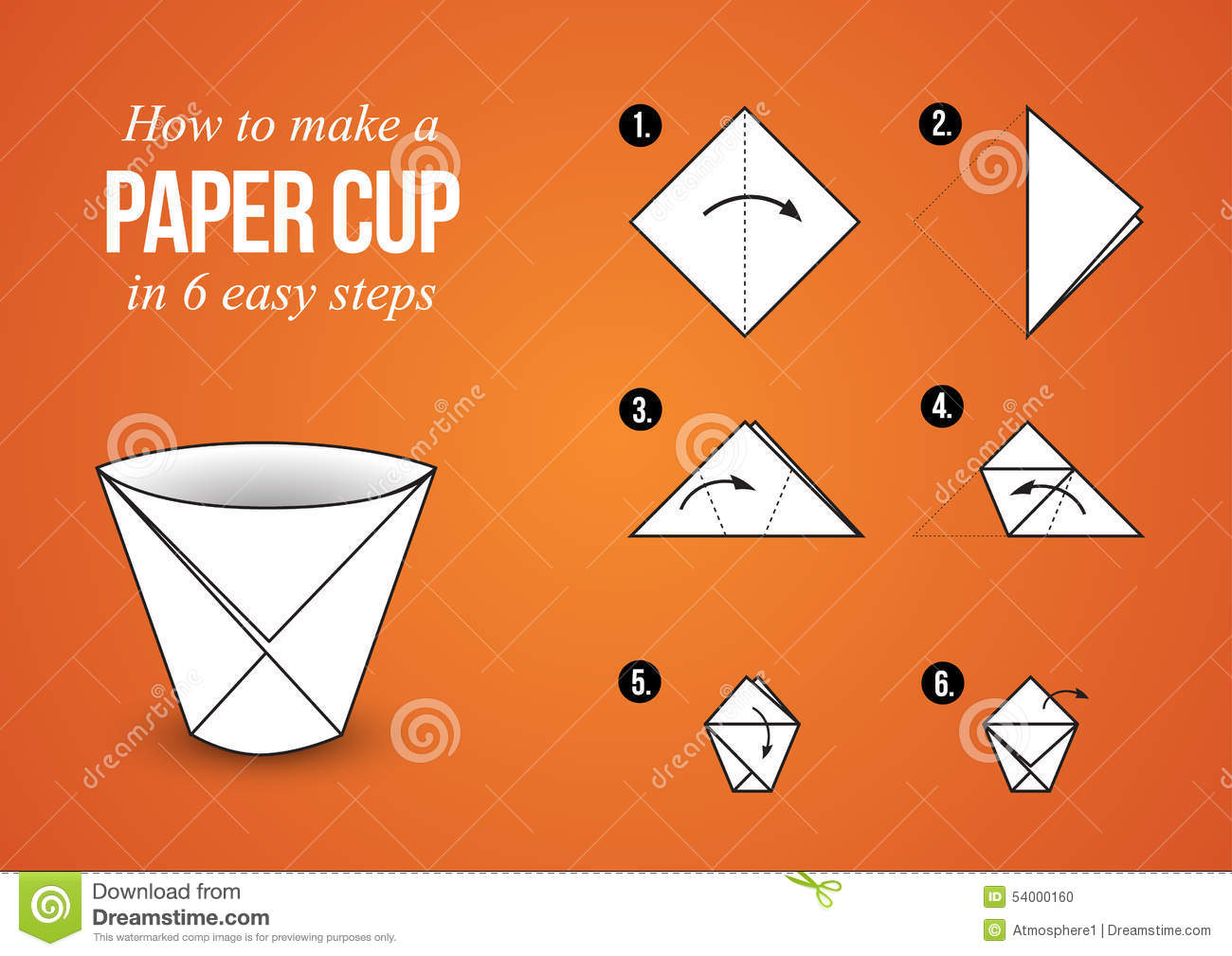 Origami Tutorial - Paper Cup in 6 easy steps with orange background ...