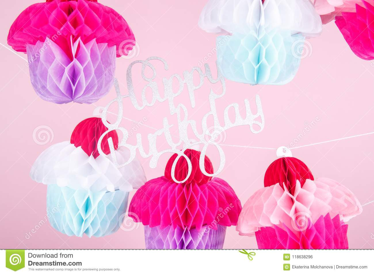 paper cupcakes celebration decoration with happy birthday letter