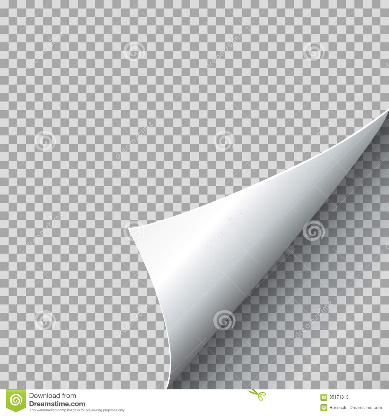 Paper curl vector illustration. Curled page corner with shadow on transparent background