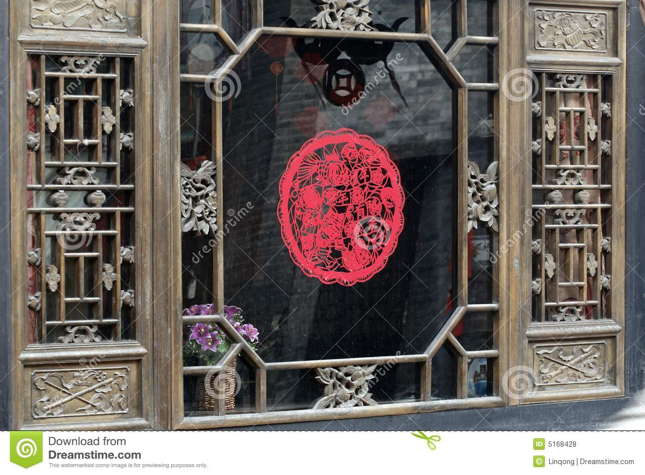 Paper Cut On The Ancient Window Royalty Free Stock Photos