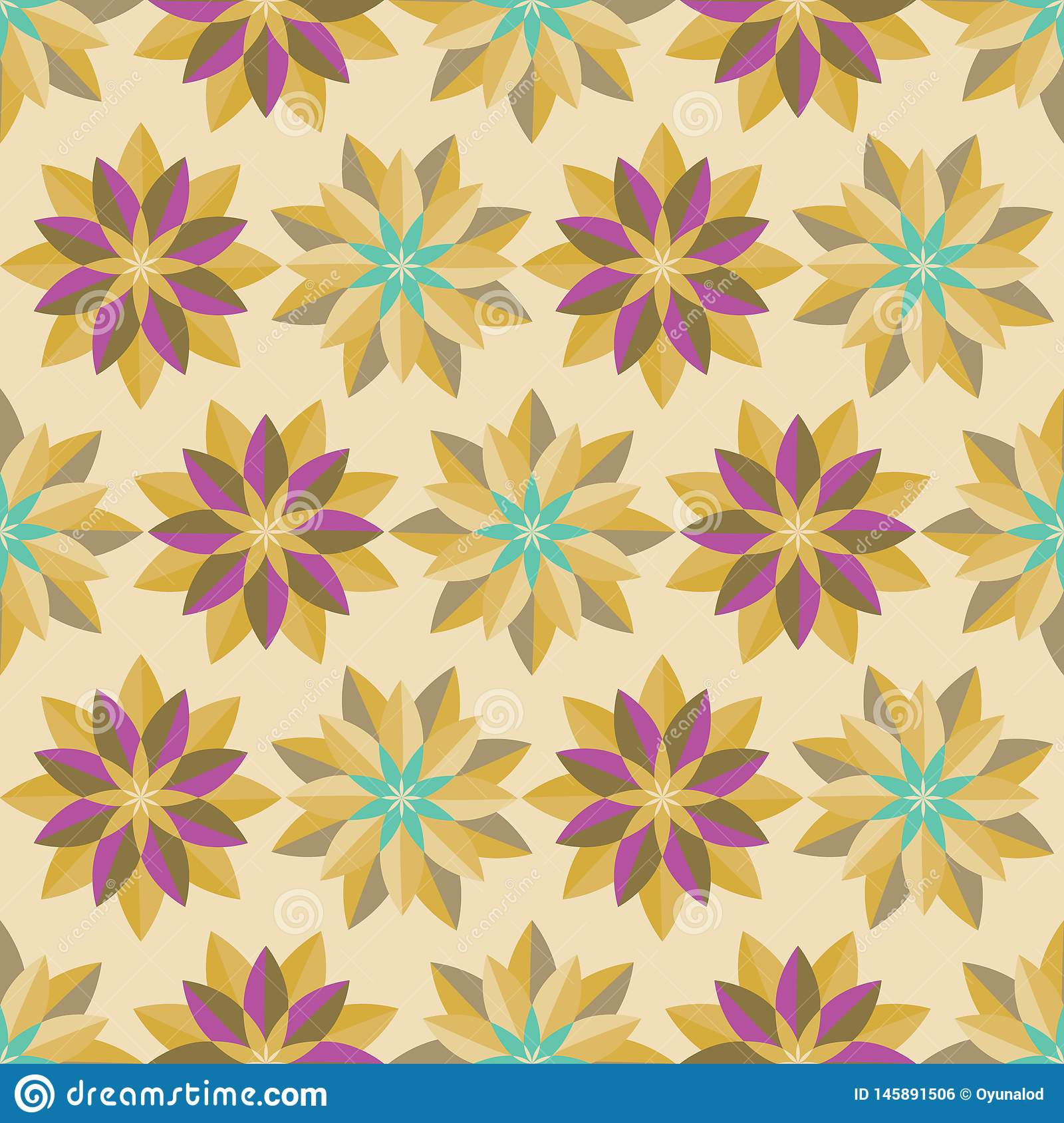 Geometric vector illustration. Paper cut art vector illustration with flowers. Seamless repeat pattern with graphic yellow, purple, olive and aqua ornaments royalty free stock image