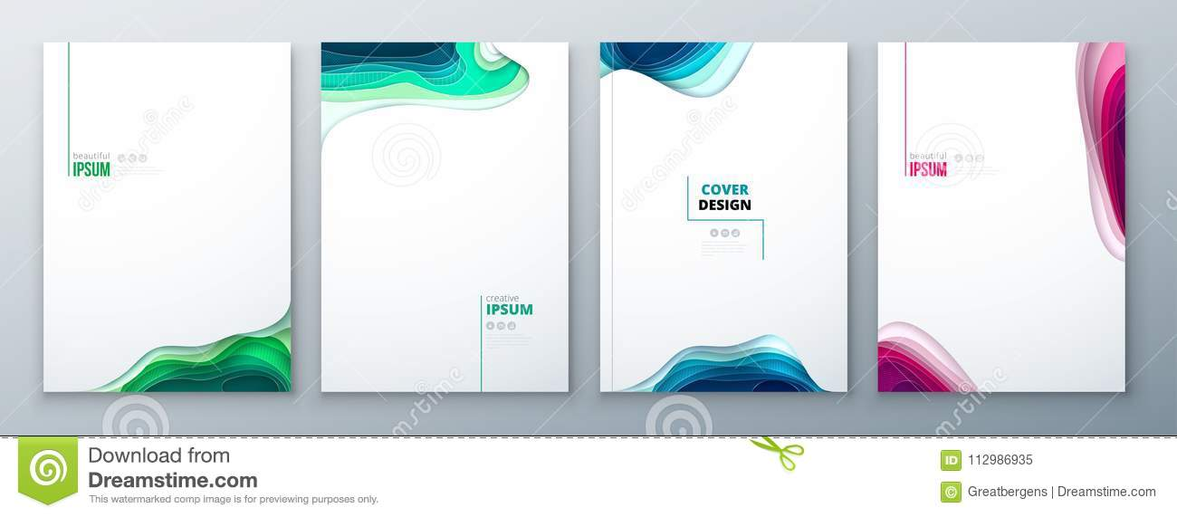 Paper cut brochure design paper carve abstract cover for brochure flyer magazine catalog design in green teal blue