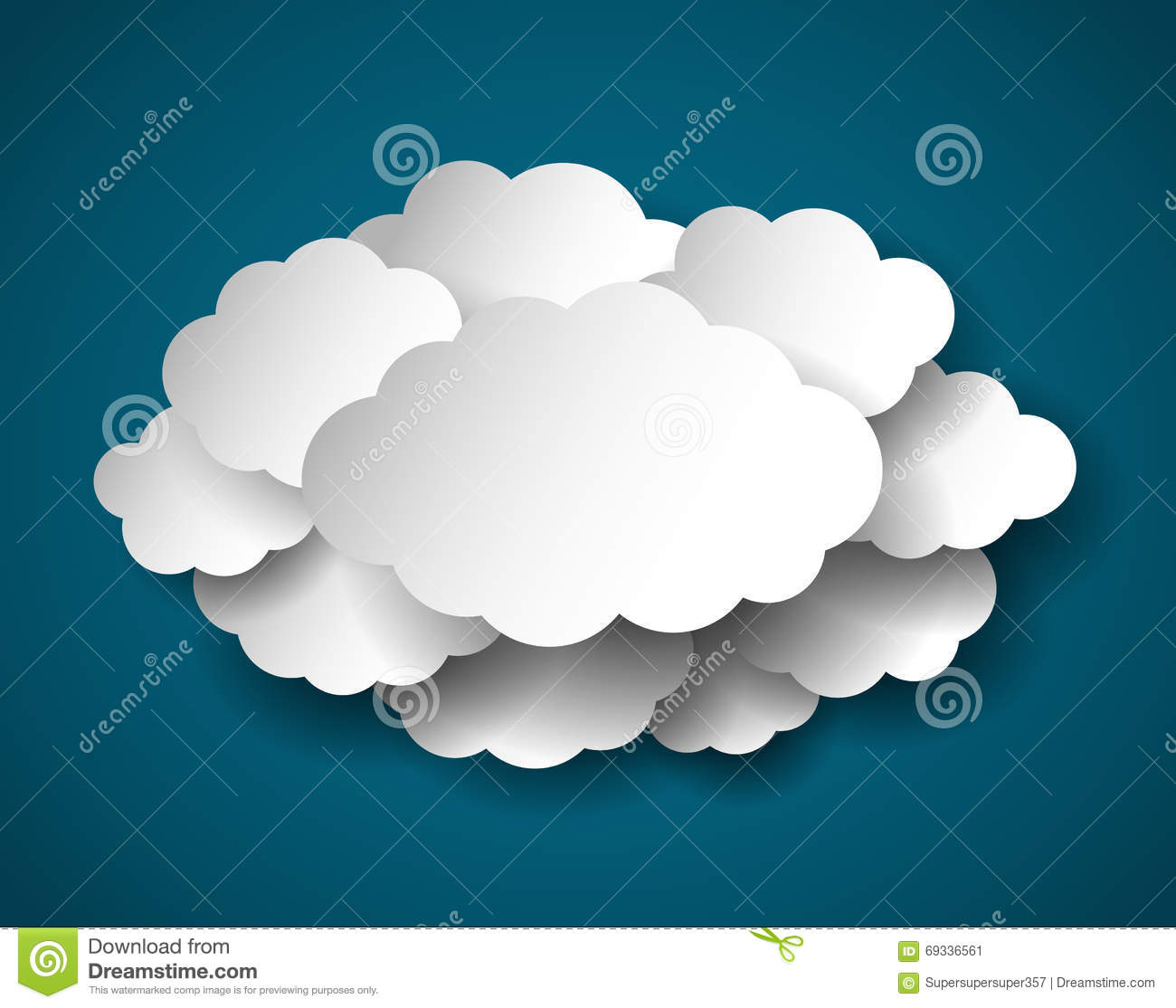 Paper cut clouds realistic vector illustration stock for How to make a paper cloud