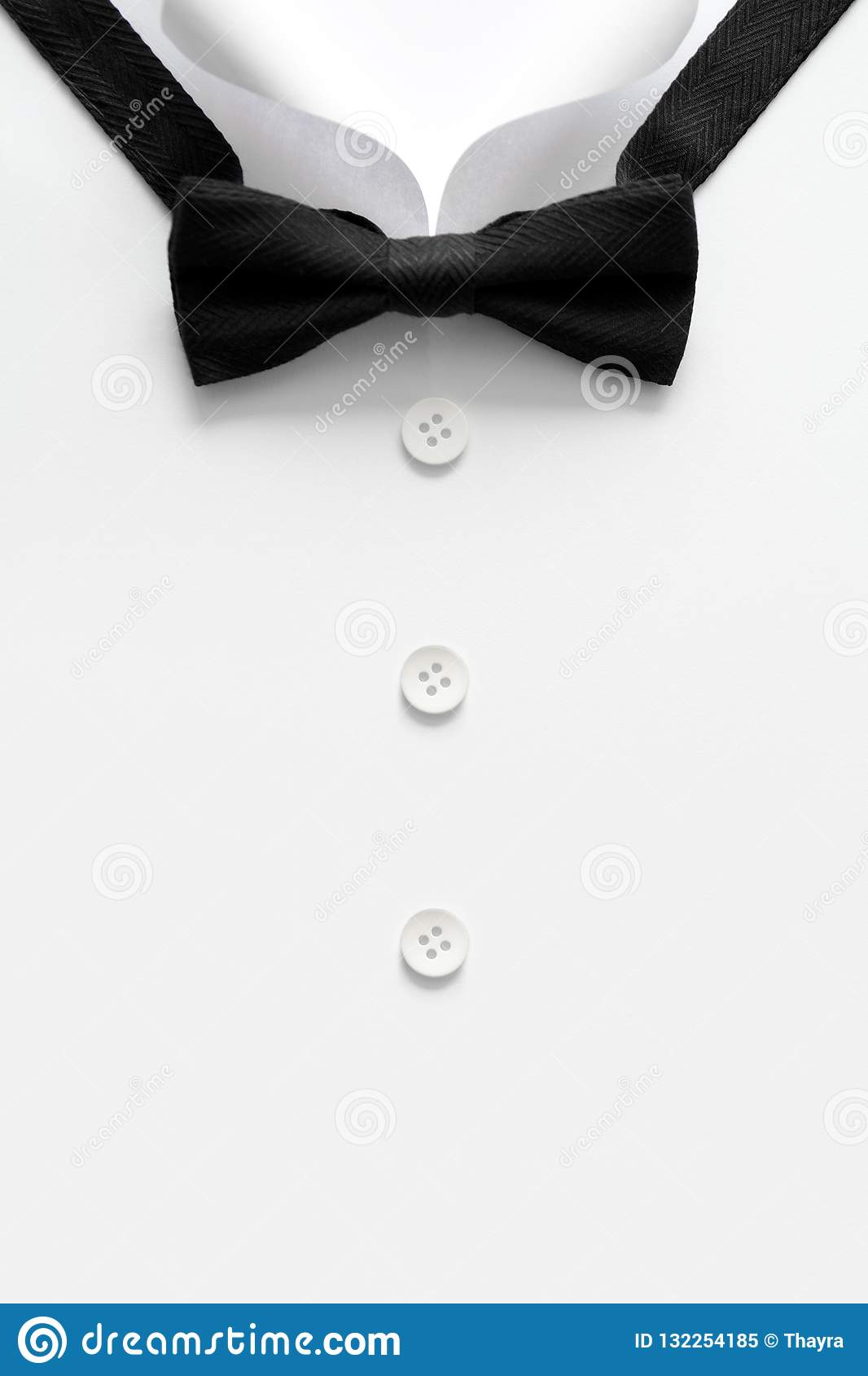 Paper cut collar of man shirts. Father`s day or wedding concept. Copy space. Top view. Minimalist style