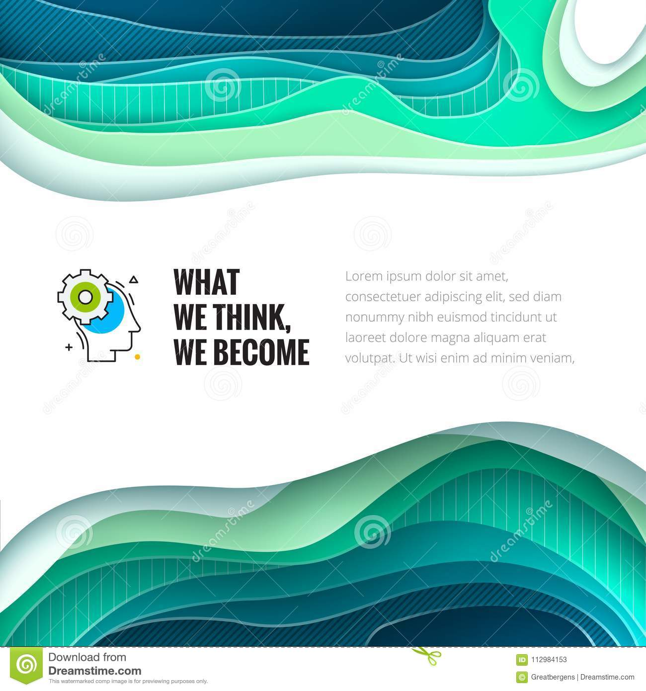 Paper cut concept. Paper carve abstract background for card, banner, brochure or flyer design in teal, green, blue