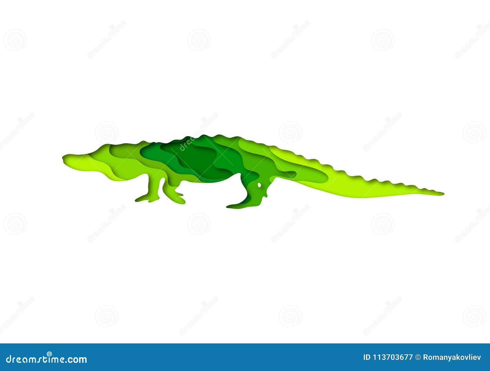 Paper Cut Crocodile, Safari Animals Shape 3D Origami ...