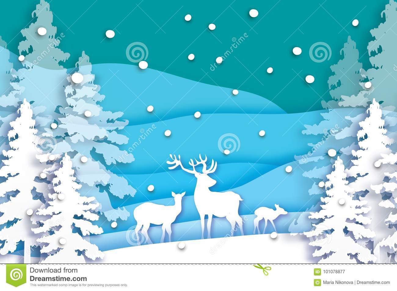 Paper Cut Deer Family In Snowy Christmas Tree Forest