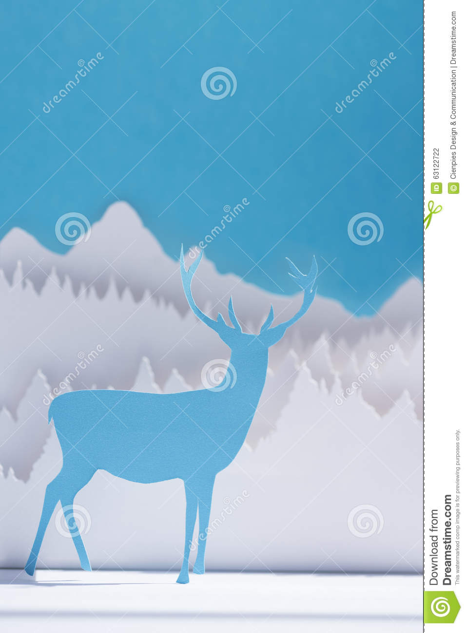 Paper cut deer handmade craft holiday blue card stock for Craft paper card stock