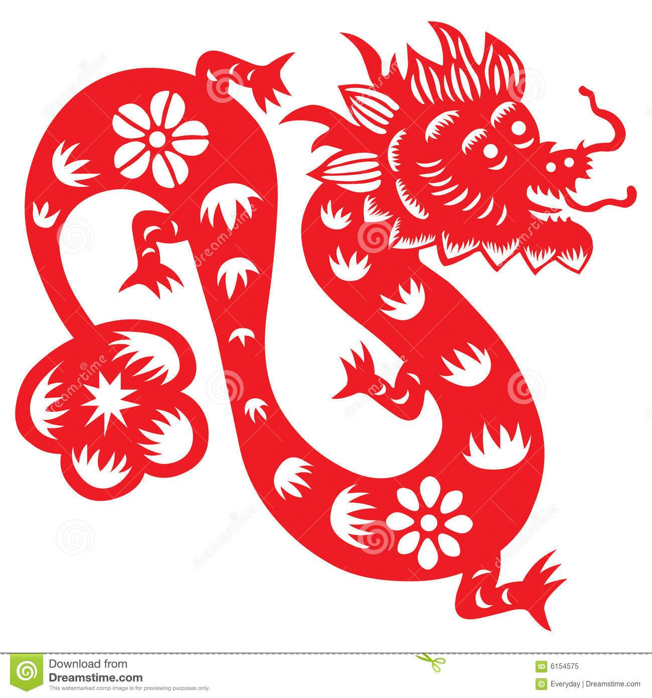 Traditional paper cut of a dragon.(fifth of Chinese Zodiac).