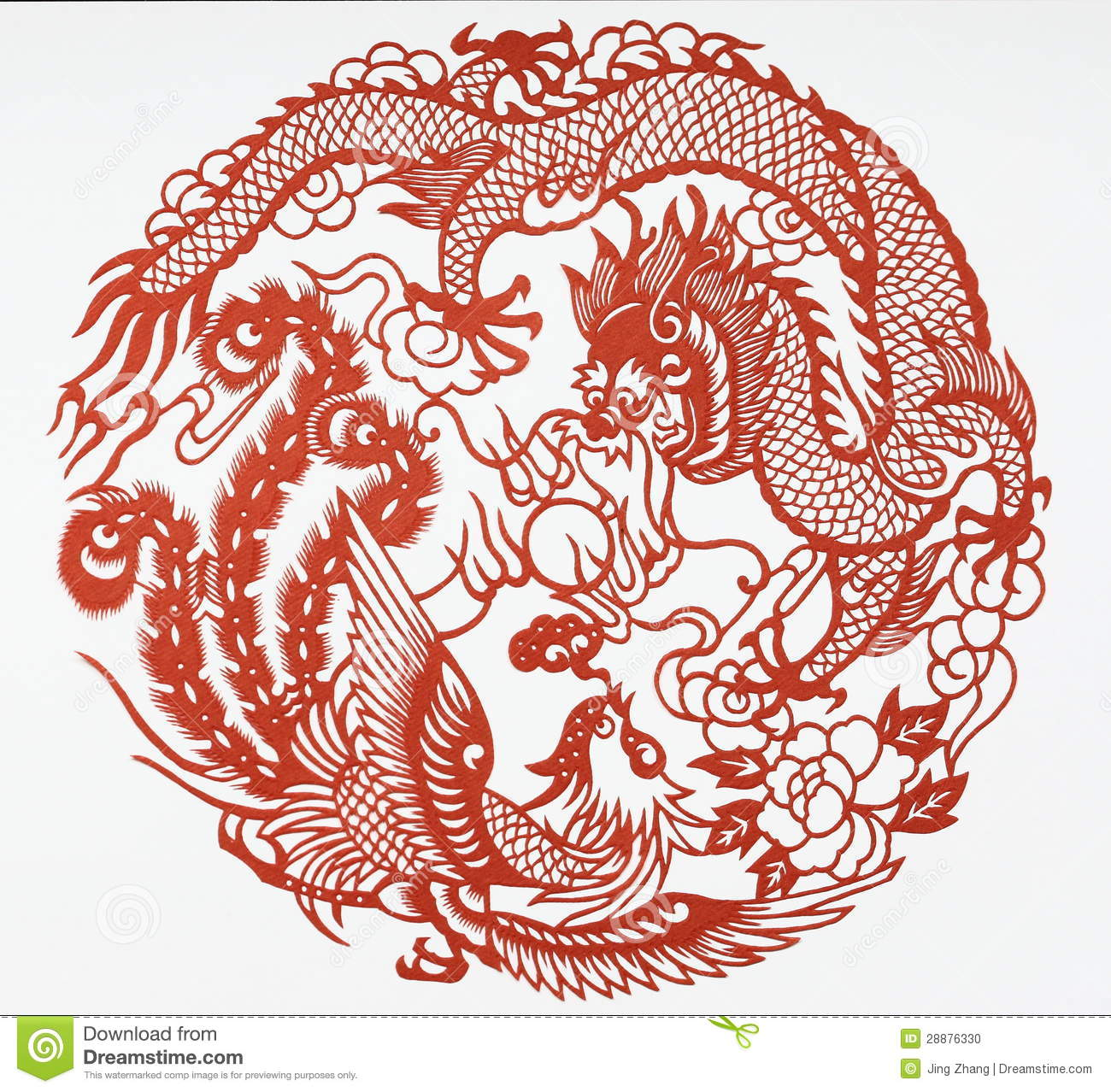 Paper cut of dragon and phoenix stock illustration for Chinese paper cutting templates dragon