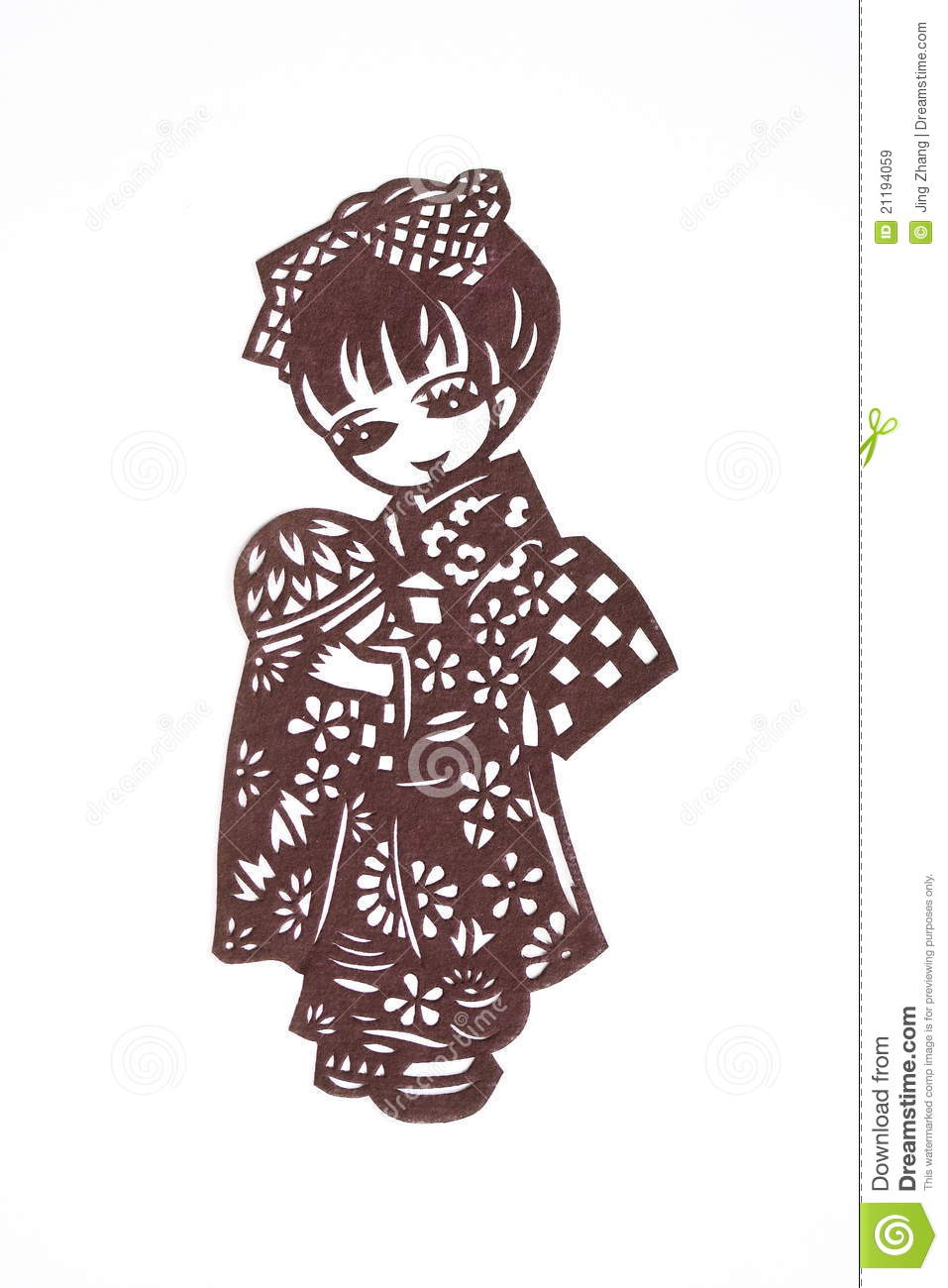 Paper-cut of a Japanese girl