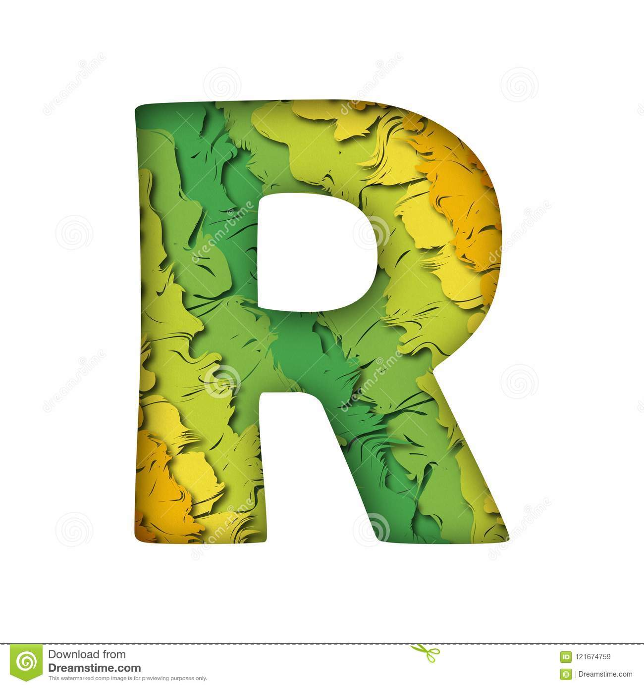 Trendy Green Papercut Letter R Stock Vector Illustration Of Text