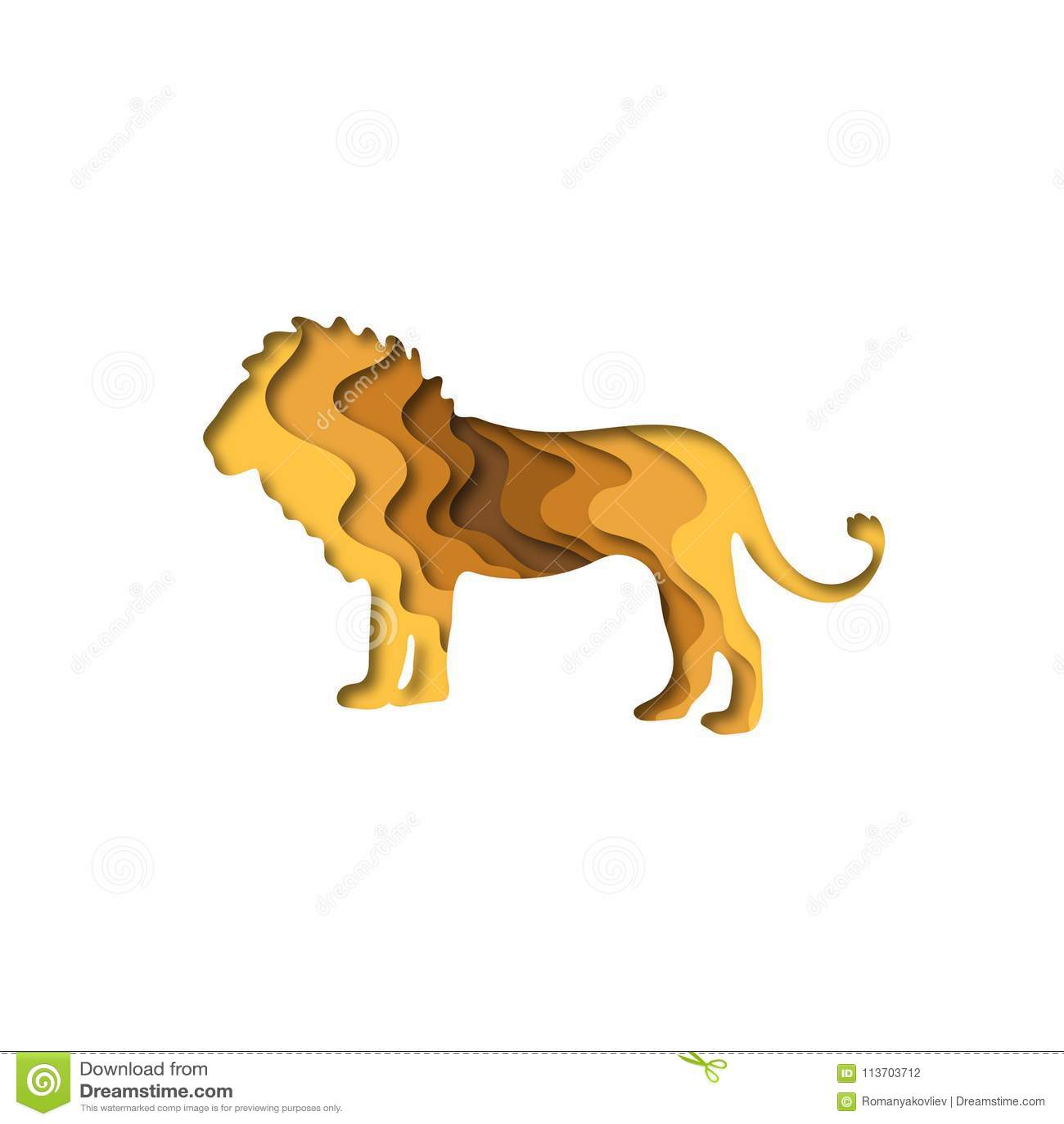 Paper Cut Lion, Safari Animals Shape 3D Origami. Trendy ...