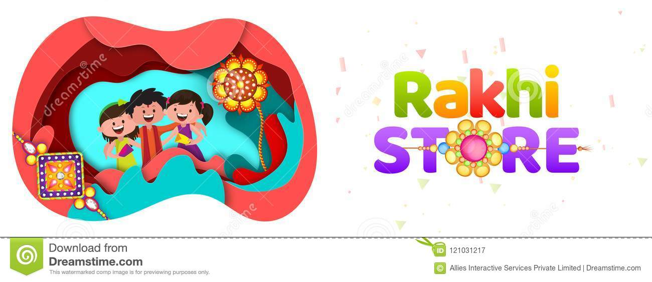 Paper Cut Origami Style Rakhi Store Header Or Banner Design With