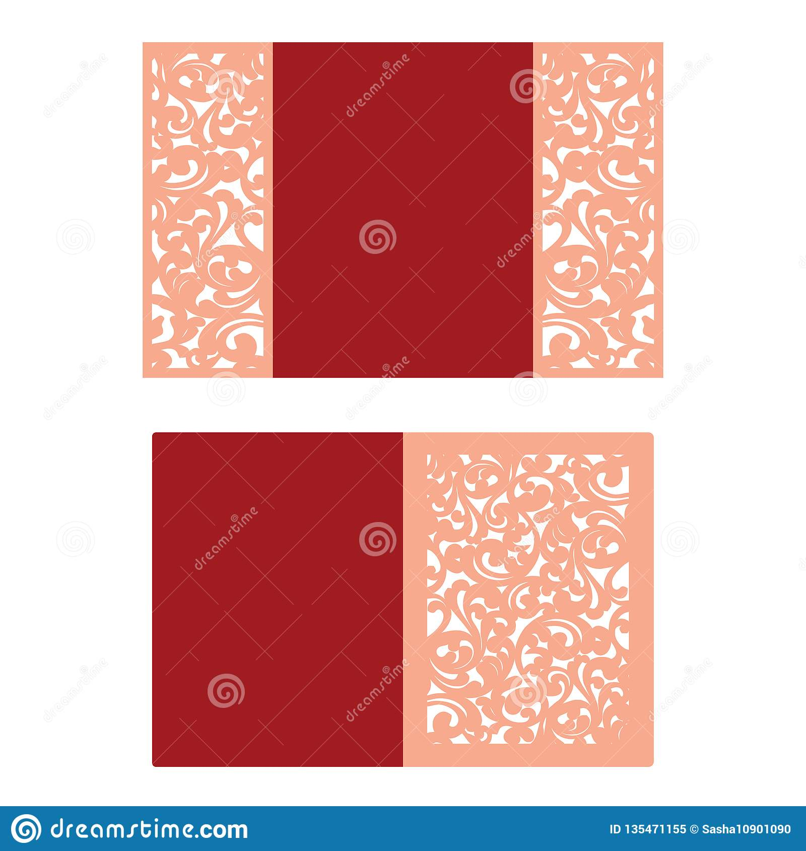 Paper Cut Out Card Laser Cut Pattern For Invitation Card
