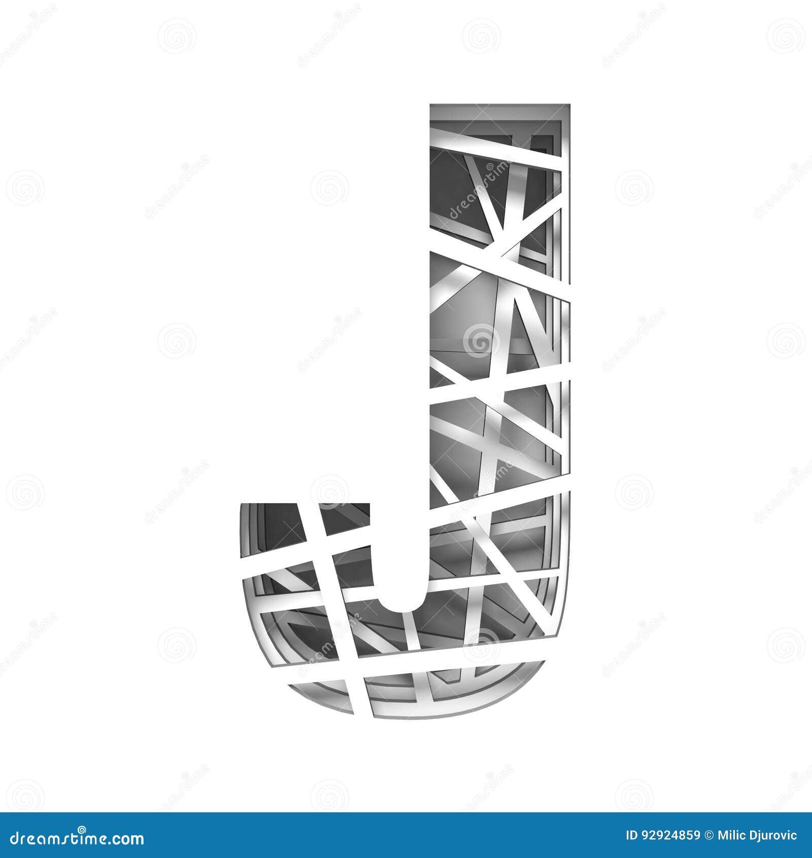 Paper cut out font letter j 3d stock illustration illustration of download comp spiritdancerdesigns Image collections