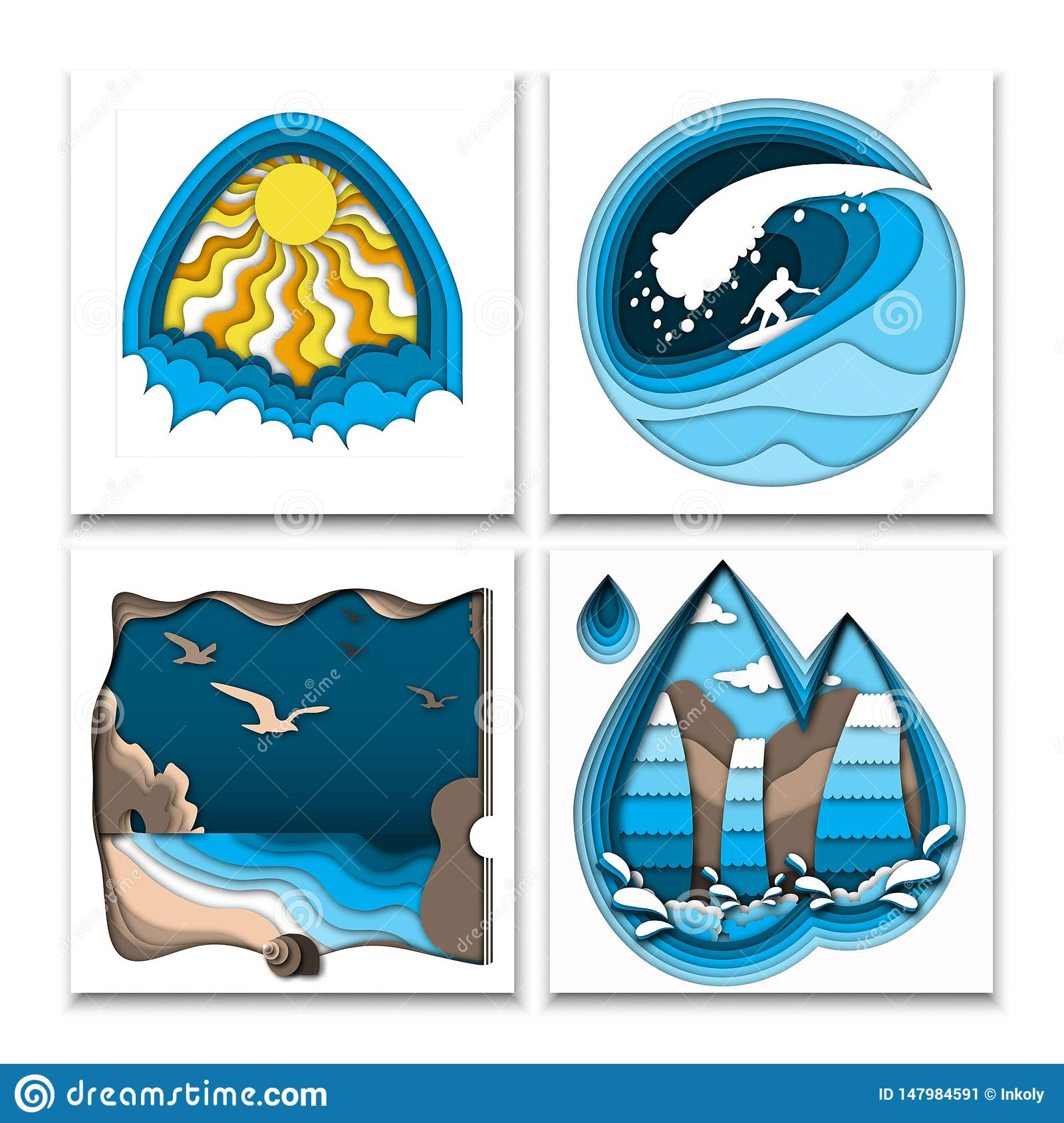 Paper cut out style summer posters with sun, clouds, surfer on high ocean wave, sea beach, rocks, birds and waterfall.
