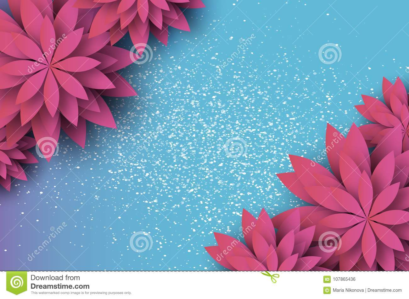 Paper Cut Pink Floral Greeting Card Origami Flower Space For Text