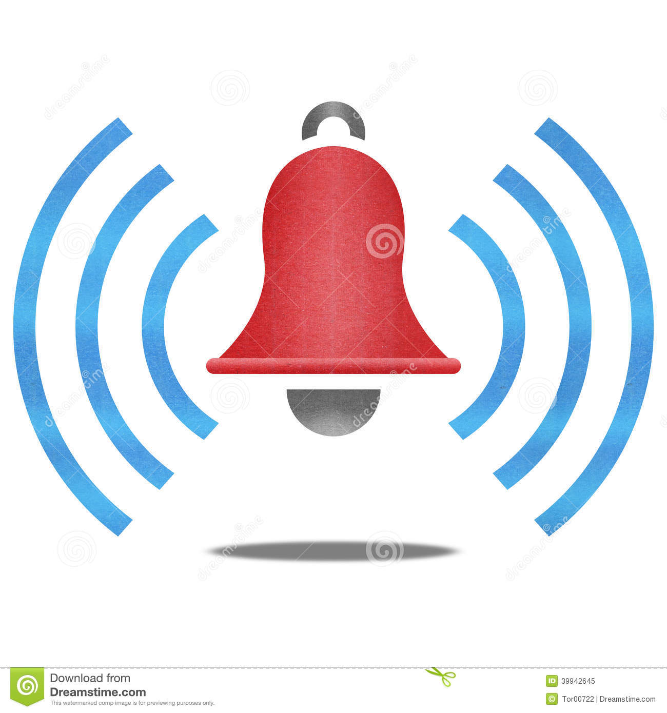 The paper cut of red alarm bell with blue signal is alert symbol icon ...