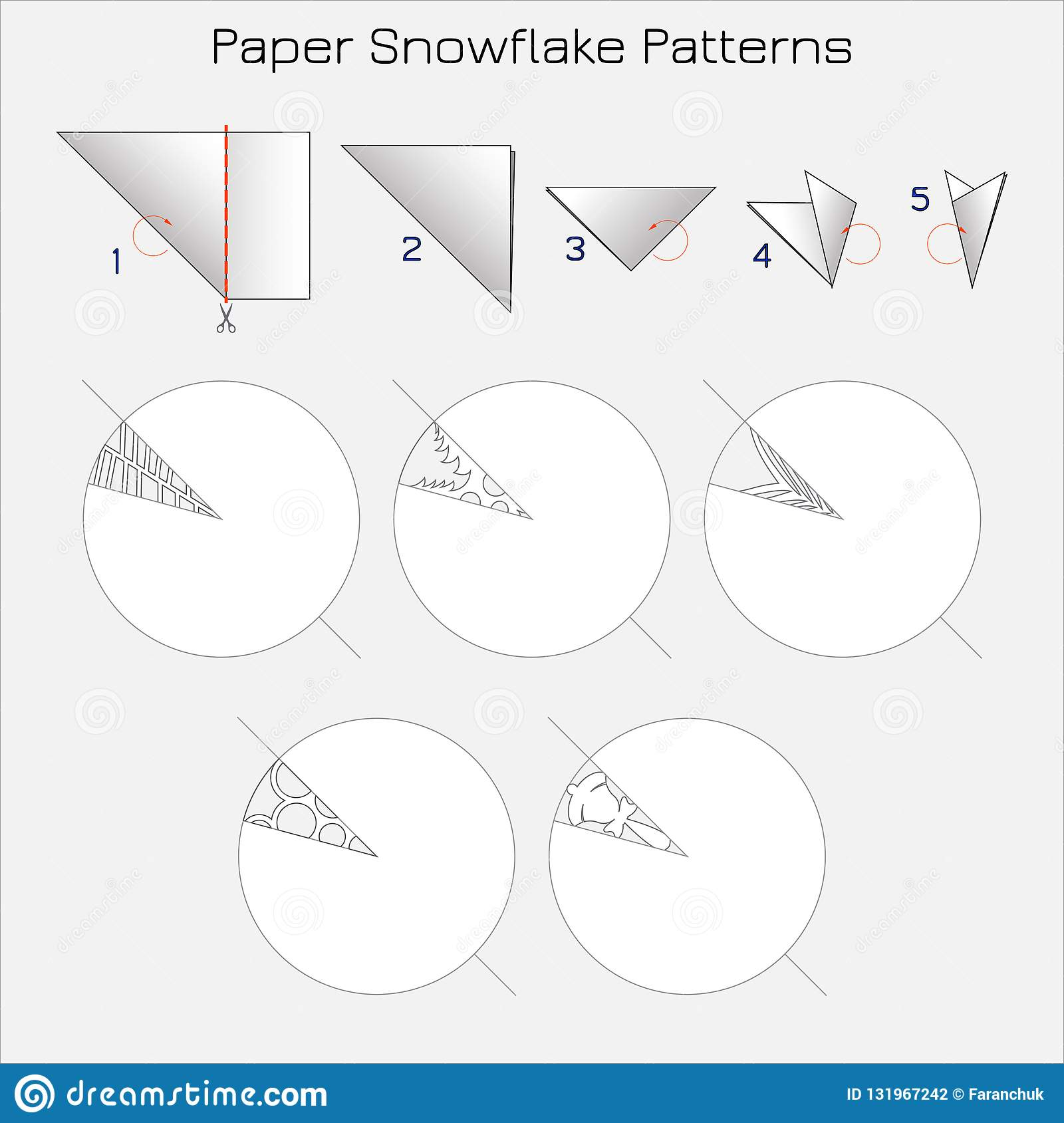 Paper Cut Snowflake Patterns  Step-by-step Instruction For