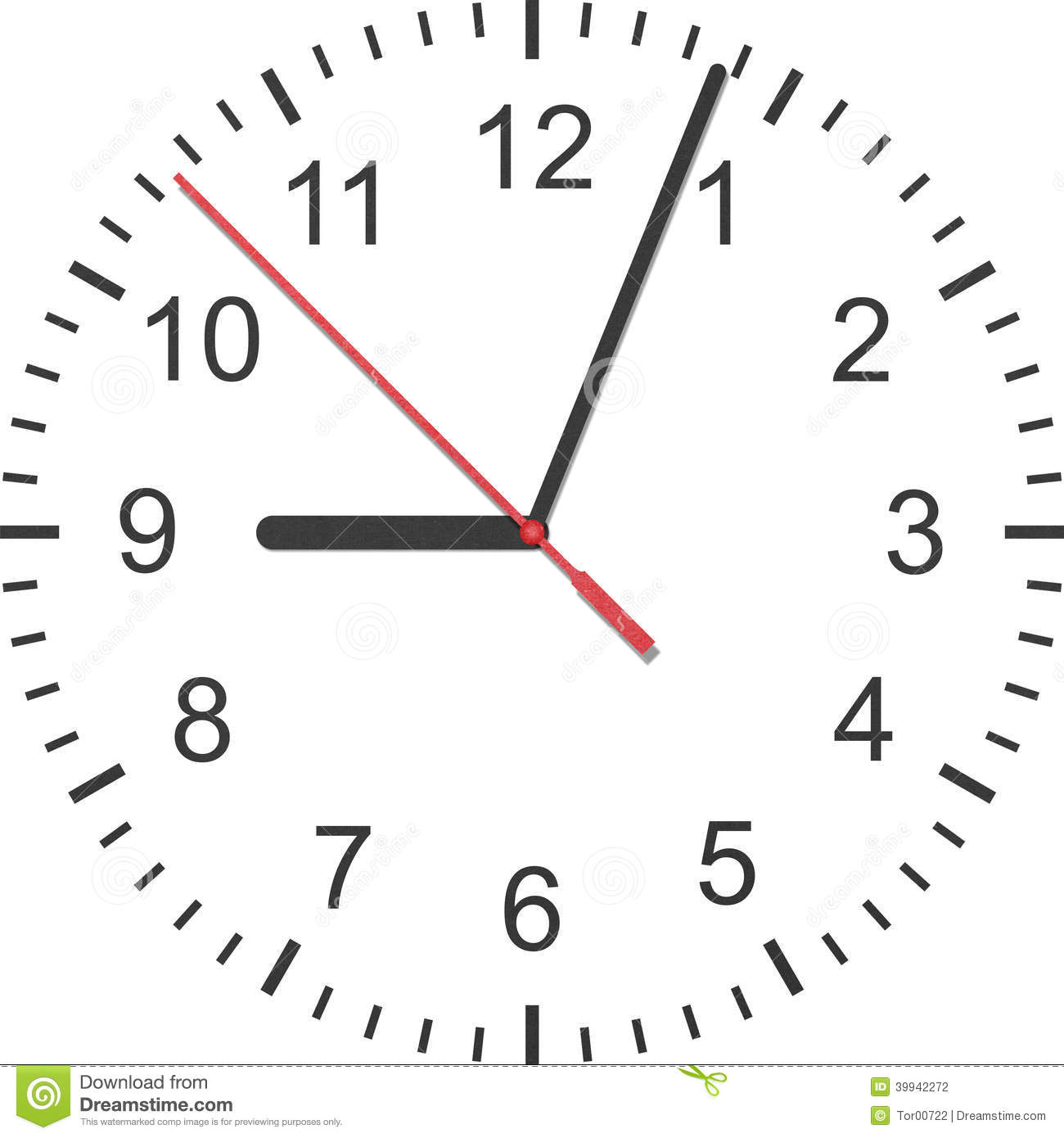 Paper Cut Of Time Clock, Watch Is Number With Hour Hand And Minute