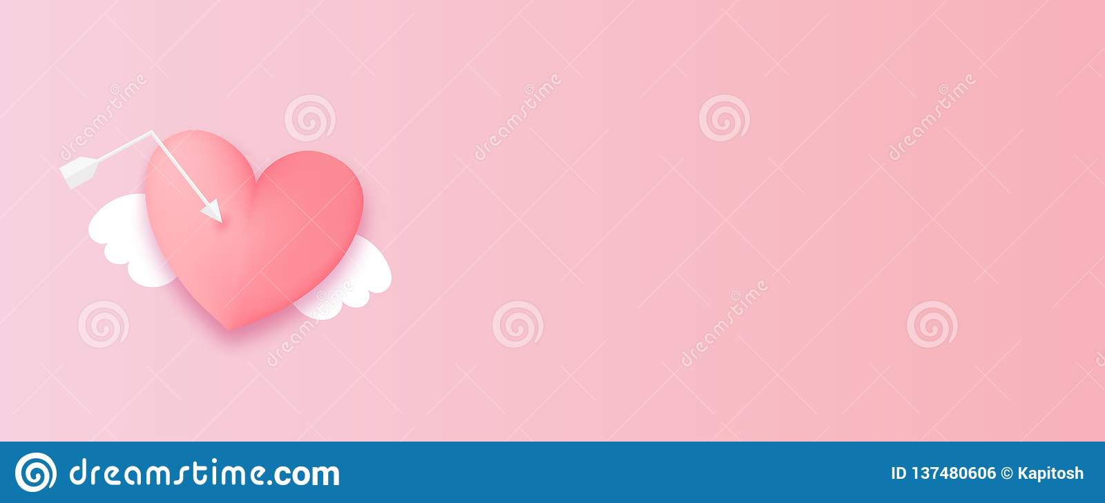 Paper cut valentines day origami web banner. In pastel colors. Cute love holiday horizontal banner design. Angel wings fly pink heart royalty free stock image