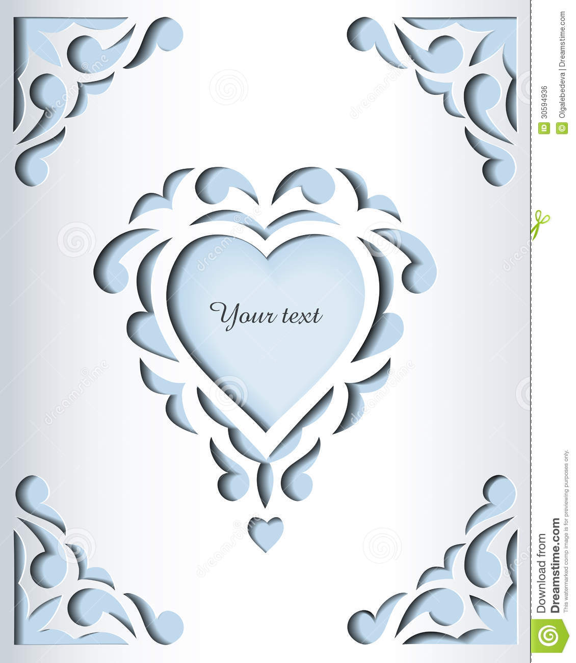 Paper Cutout Card Template Frame Design Stock Vector