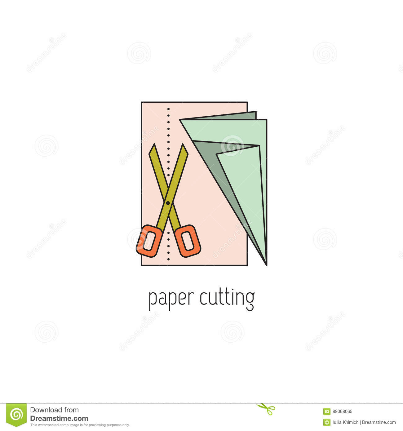 Paper Cutting Line Icon Stock Vector Illustration Of Pattern 89068065