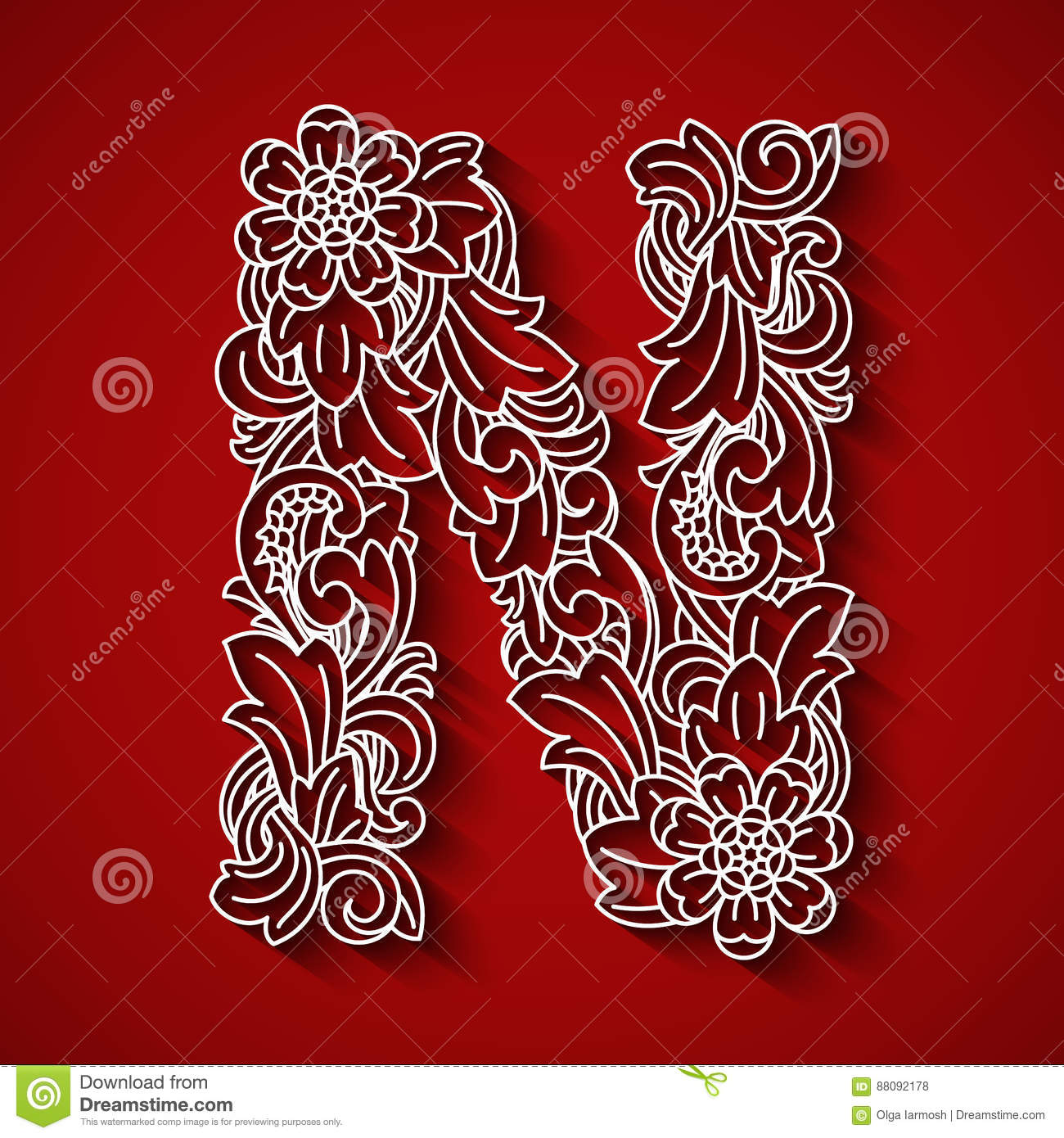 Paper Cutting White Letter N Red Background Floral Ornament