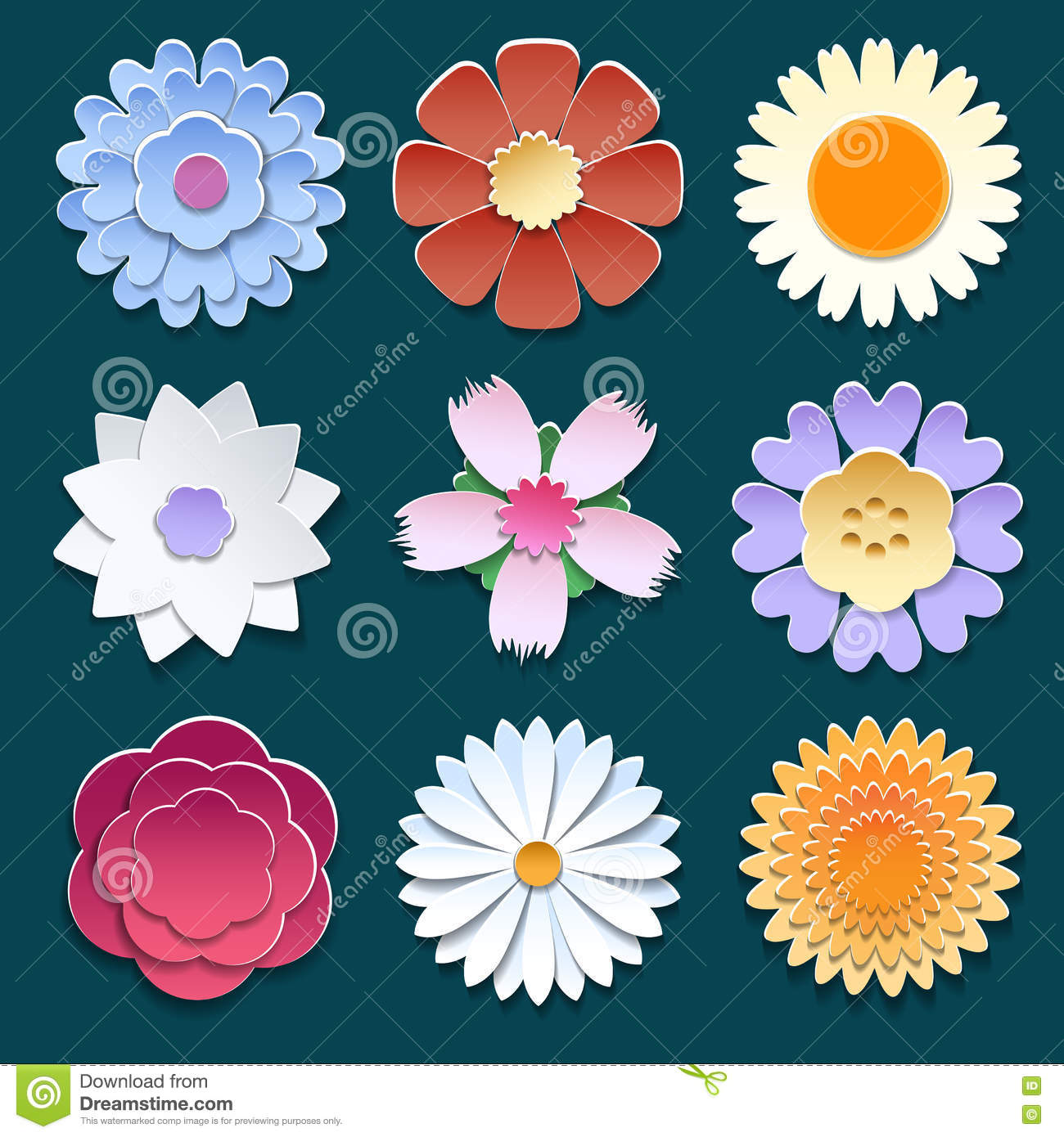 Paper 3d origami flowers set stock vector illustration of beauty download comp mightylinksfo