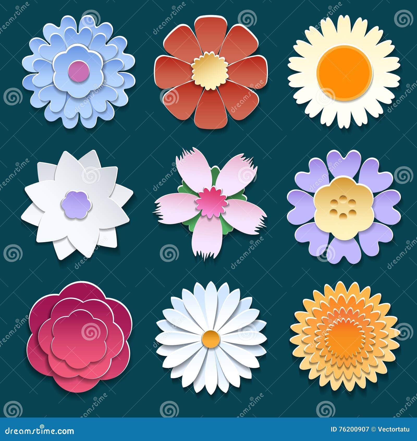 Paper 3d origami flowers set stock vector illustration of beauty paper 3d origami flowers set mightylinksfo